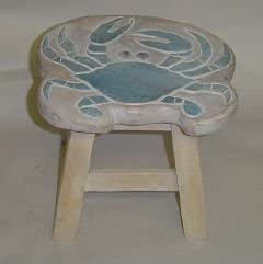 In the Garden and More Blue Crab Hand Carved Wooden Foot Stool
