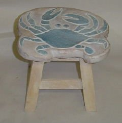 Blue Crab Hand Carved Wooden Foot Stool