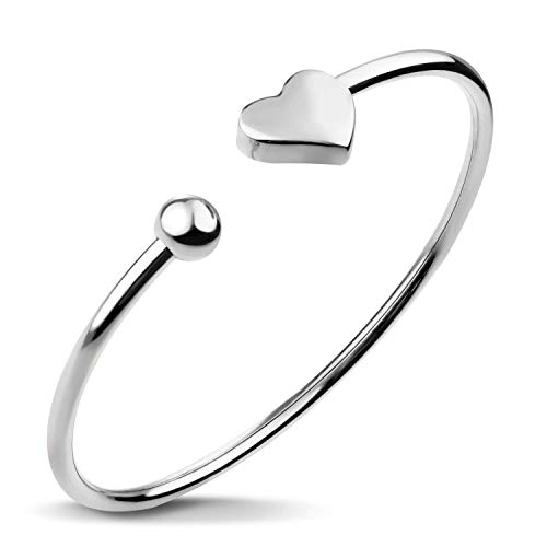 Heart Open Bangle Silver - 555Jewelry Stainless Steel Womens Girls Cute Love Tiny Heart Romantic Gift Dainty Charm Open Cuff Fashion Fine Jewelry Accessory Bangle Bracelet, Silver