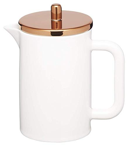 Kitchencraft Le'xpress Pure White Bone China 6 Cup Cafetiere With Copper Effect