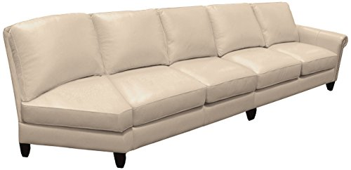Omnia Leather Benjamin Right Arm 4 Cushion Sofa with Half Curve in Leather, No Nail Head, Softstations White Winter