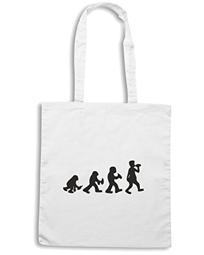T-Shirtshock - Bolsa para la compra BEER0216 evolution-of-drunken-stone-age-man-Magliette Blanco