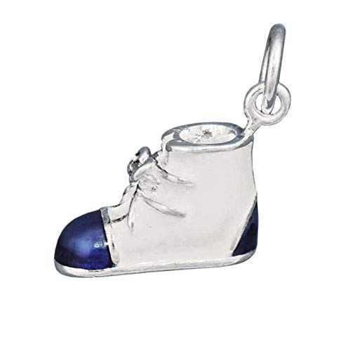 White Blue Enamel Boys Baby Boy Shoe Bootie 3D .925 Solid Sterling Silver Charm Jewelry Making Supply Pendant Bracelet DIY Crafting by Wholesale Charms