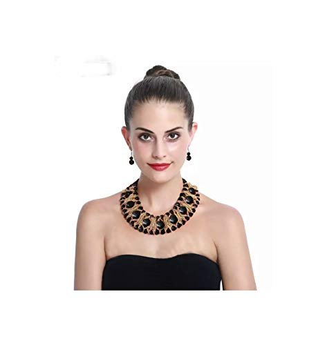 Nataliya African Bead Jewelry Set (Black Gold African Bead Jewelry Set)