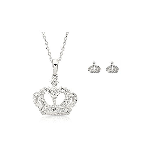 18K White Gold Plated Crown Set Fashion Jewelry