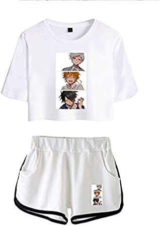 JFLY Camiseta Yakusoku No Neverland + Short Woman Girls Hose Men The Promised Neverland Emma Norman Ray Camisetas Casuales Hechas De Algodón Puro Harajuku Camiseta De Manga Corta