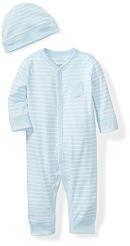 Moon and Back Baby Organic Snap-Front One-Piece Coverall with Cap Set, Blue Sky, 6-9 Months