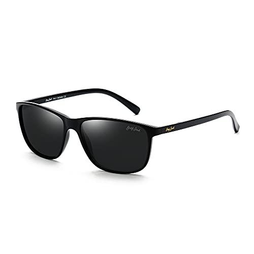 GREY JACK TR90 Material Polarized UV400 Protected Rectangular Sunglasses for Men Women 1232