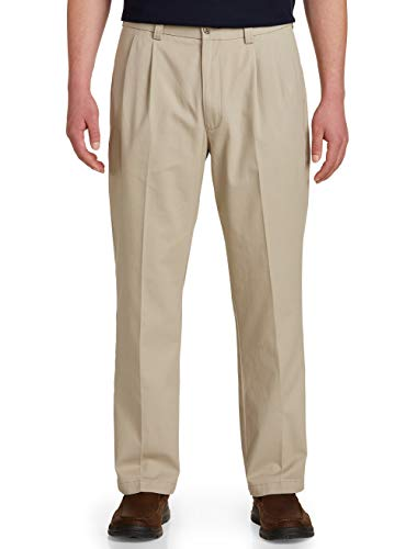Harbor Bay by DXL Big and Tall Waist-Relaxer Pleated Twill Pants ()