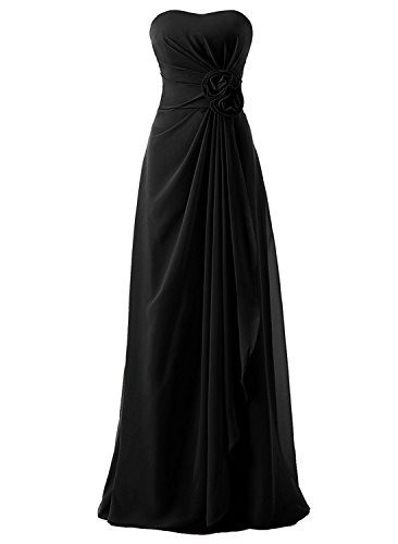 Victoria Prom Women Long Empire Draped Strapless Chiffon Bridesmaid Evening Dress Black (Black Strapless Prom Dress)
