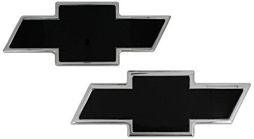 Chevrolet Rear Emblem - AMI 96100KP Chevy Bowtie Grille & Tailgate Emblem - Polished/Black Powder coat, 2 Pack
