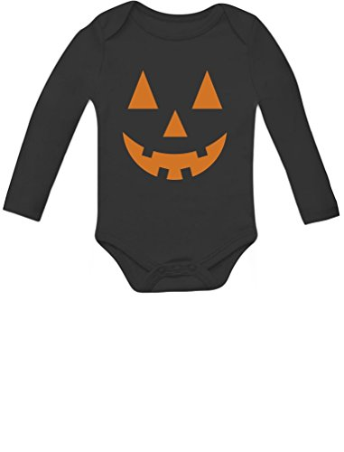 Orange Pumpkin Face Jack O' Lantern Halloween Costume Baby Long Sleeve Bodysuit 18M Black -