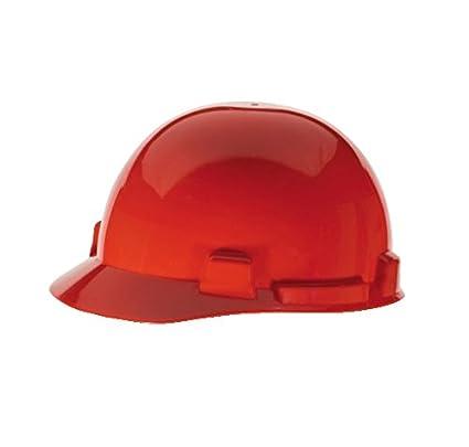Casco de protección, Ala Delantero, ranurado, 4 PT. Carraca, rojo por