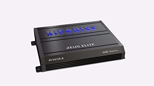 4 Channel Coaxial - Hifonics Zeuz Elite ZEX650.4 Car Audio 600 Watts RMS 4-Channel Amp with Blue Illuminated Logo Class A/B Speaker Black Amplifier