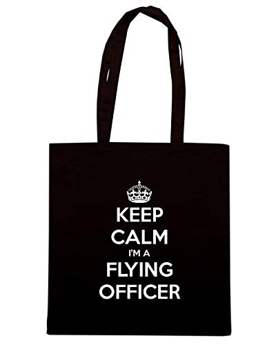 Speed Shirt Borsa Shopper Nera TKC2459 KEEP CALM I'M FLYING OFFICER