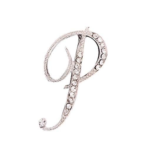 (Toponly 1Pcs A to Z 26 English Letters Silver Plated Metal Clear AAA+ Crystal Lapel Pin Brooches Collar)