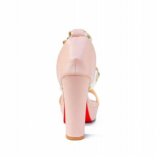 Carol Skor Mode Womens Spänne Blandade Färger Sexig Elegans Plattformkicken Chunky Klack Sandaler Rosa