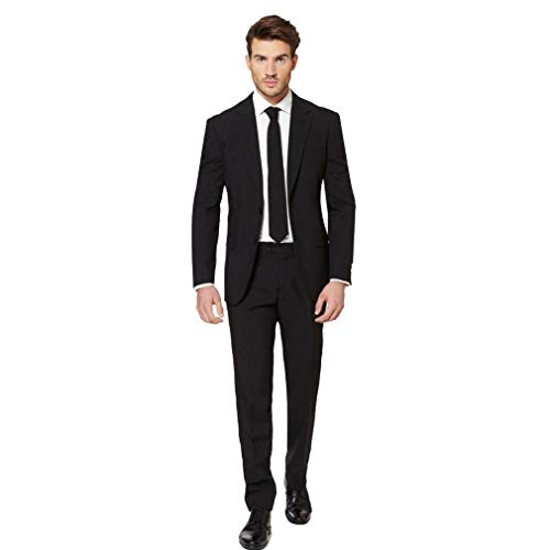 Opposuits Black Knight Solid Black Suit For Men Coming With Pants, Jacket and Tie, Black Knight, US44