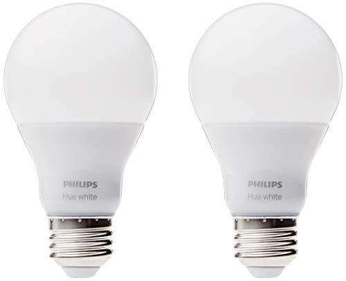 Philips Hue White A19 - Paquete de 60W Bombilla inteligente LED de intensidad regulable equivalente (funciona con Alexa Apple HomeKit y Google Assistant)