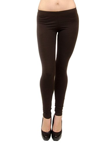 Vivian's Fashions Long Leggings - Soft Velour, Misses Size (Brown, Large)