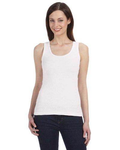 Cotton 2x1 Rib Tank Top - Bella Ladies Organic 2x1 Rib Tank Top. 4020 - XX-Large - White
