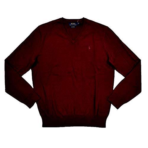Polo Ralph Lauren Men's Pima Cotton V Neck Long Sleeve Sweater, (Medium, Red) (Ralph Lauren Pima Cotton Polo Long Sleeve)
