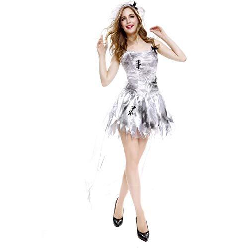 Halloween Thriller Bride Costume Masquerade Show Uniform Vampire Demon Role Play,L