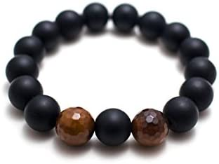 Jewels Beads - Pulsera de ónix y ágata de fuego AAA++ de calidad AAA++ / pulsera de ónix mate / pulsera grande de ónix / pulsera de ónix para hombre / 12 mm código de pulsera - UKA-9042