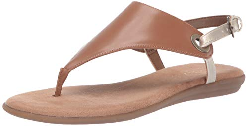Aerosoles - Women's in Conchlusion Sandal - Leather Toe Strap Summer Flat Shoe with Memory Foam Footbed (5M - Tan Gold)