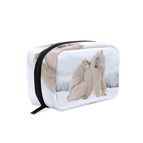 Makeup Bag Winter Snow Polar Bear Cosmetic Pouch Clutch -