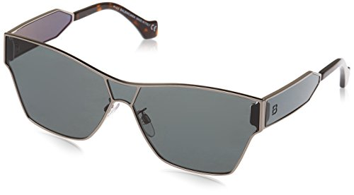 Sunglasses Balenciaga BA 0095 14C shiny light ruthenium/smoke mirror