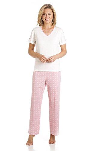 Diseño de sifón sea para mujer diseño de ancla 2 piezas Juego de pijama de colores de tamaño completo pijama pantalones y tamaño de la funda de manga corta para niña - pequeño-Extra-tamaño grande Rosa