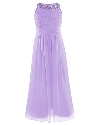 - zdhoor Kids Girls Sequins Neck Chiffon Bridesmaid Wedding Flower Girl Dress Long Maxi Prom Party Gowns Lavender 12