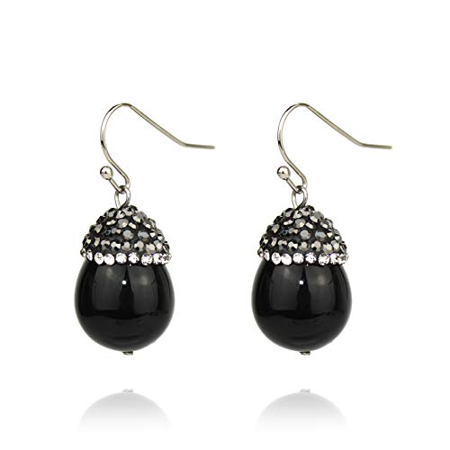 Pomina Cute Crystal Pave Cap Acorn Pearl Drop Earrings (Small Black) ()