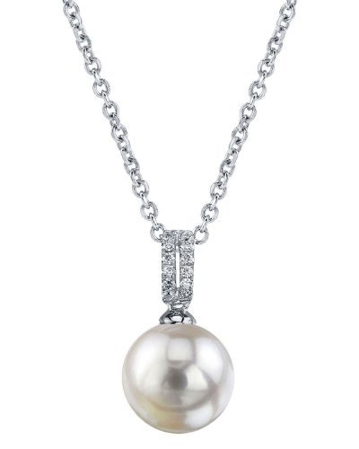 THE PEARL SOURCE 14K Gold 8.5-9mm AAA Quality Round White Akoya Cultured Pearl & Diamond Belinda Pendant Necklace for Women
