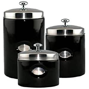 black kitchen canister amazon com black contempo canisters set of 3 home kitchen 6310