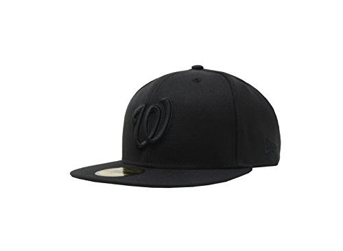 MLB Washington Nationals Black with Black Home Logo 59FIFTY Fitted Cap, 7 1/4
