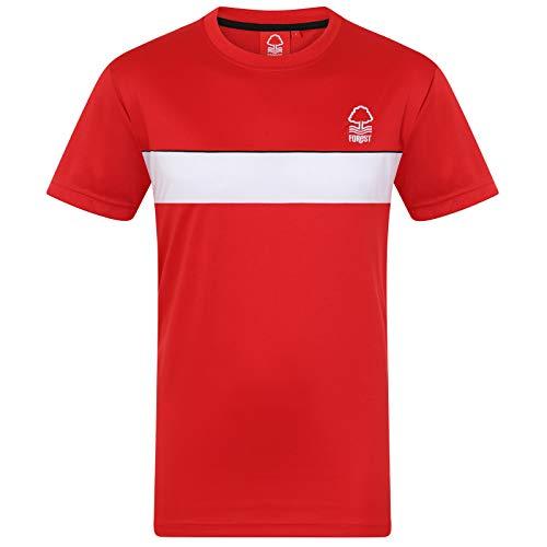 Nottingham Forest FC Official Gift Mens Poly Kit T-Shirt Red White Stripe ()