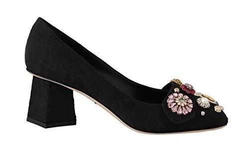 Dolce & Gabbana Brocade Crystal DG Logo Pumps Black