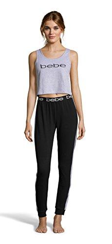 bebe Womens Crop Tank Top and Skinny Pant Pajama Sleep Set Heather Grey Medium ()