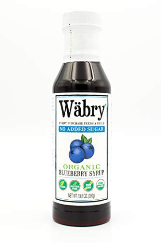 Wäbry Organic Syrup (Blueberry, No Sugar Added) 13.8 oz BPA-Free Plastic (Sugar Free Syrup Snow Cone)
