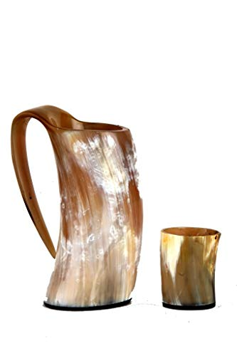 Buddha4all Original Viking Drinking Horn Cup Tankard Mug Horn Mug with Horn Shot Glass(2Oz) (HORN MUG WITH SHOT MUG)