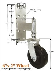 6'' Black Rubber Spring-Loaded Gate Caster - Swivel - 550 lb. Capacity by Caster Connection, Inc. (Image #1)