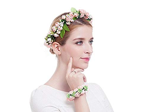 Hairband Flower Crown Headband Floral Wrist Band For Wedding Party by allgoodsdelight365 (Image #2)
