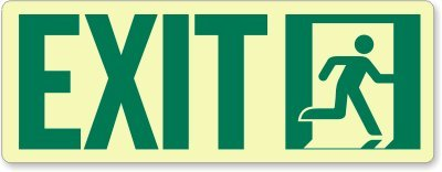 GlowSmart Directional Exit Sign, Running Man Going Right, 12'' x 4.5''