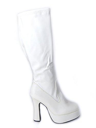 Ladies Womens Fancy Dress Party Go Go Boots 60s 70s Retro Size 3 4 5 6 7 8 Various Designs White Matt (11827) GNCHH31U3