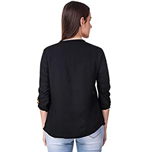 Elyraa Women's Embroidered Casual Western Regular fit 3/4th Sleeve Top