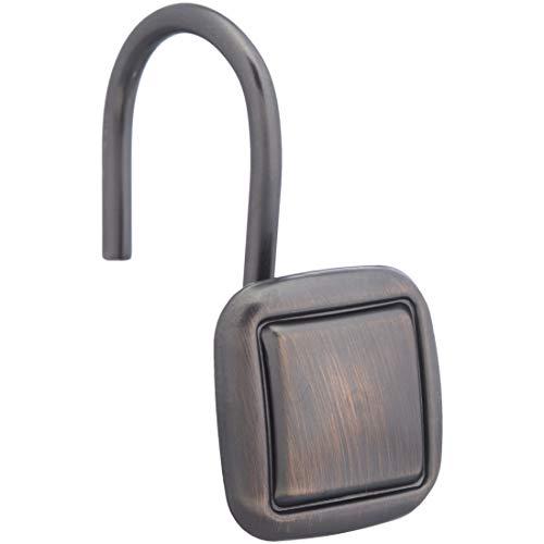 AmazonBasics Shower Curtain Hooks - Lined Square Hooks, Oil-Rubbed Bronze