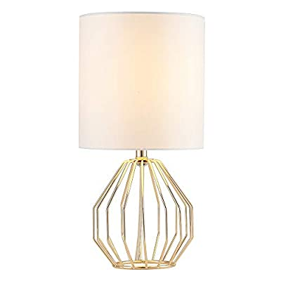 COTULIN Table Lamp,Gold Lamps for Bedroom,Modern Hollowed Out Base Small Table Lamp with White Fabric Shade for Living Room - Size:Height 14.37 inch,diameter 7.09 inch.Please note the size before purchasing. Input:AC 110V-120V,max 60W,E26 socket,fits LED CFL incandescent bulbs(bulb not included). High Quality:All of our products are produced in the standard factory,possessing long service life. - lamps, bedroom-decor, bedroom - 31PGQvmc1qL. SS400  -