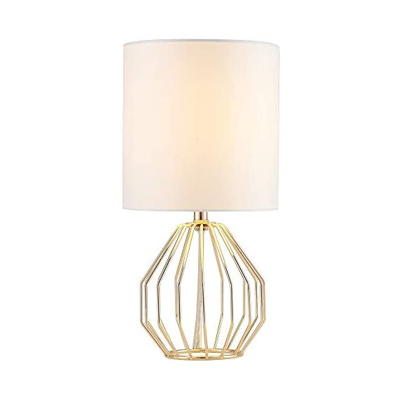 COTULIN Table Lamp,Gold Lamps for Bedroom,Modern Hollowed Out Base Small Table Lamp with White Fabric Shade for Living Room - Size:Height 14.37 inch,diameter 7.09 inch.Please note the size before purchasing. Input:AC 110V-120V,max 60W,E26 socket,fits LED CFL incandescent bulbs(bulb not included). High Quality:All of our products are produced in the standard factory,possessing long service life. - lamps, bedroom-decor, bedroom - 31PGQvmc1qL. SS570  -